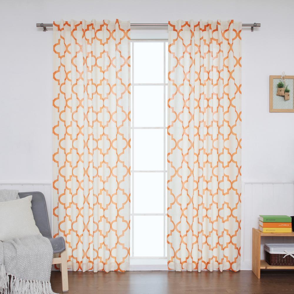 84 in. L Orange Faux Linen Reverse Moroccan Curtain (2-Pack)