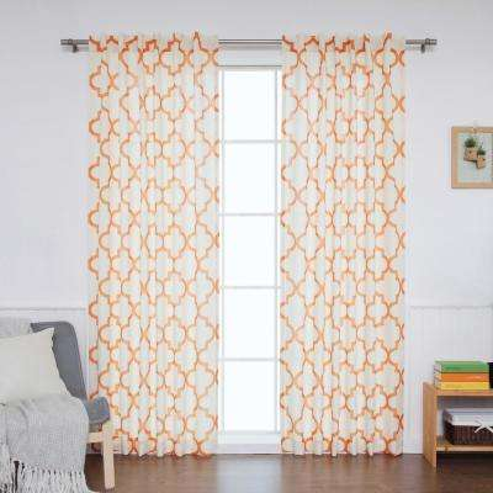 96 in. L Orange Faux Linen Reverse Moroccan Curtain (2-Pack)