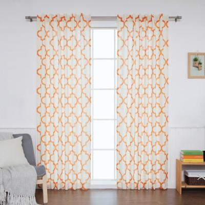 96 in. L Orange Faux Linen Reverse Moroccan Curtain (2-Pack)