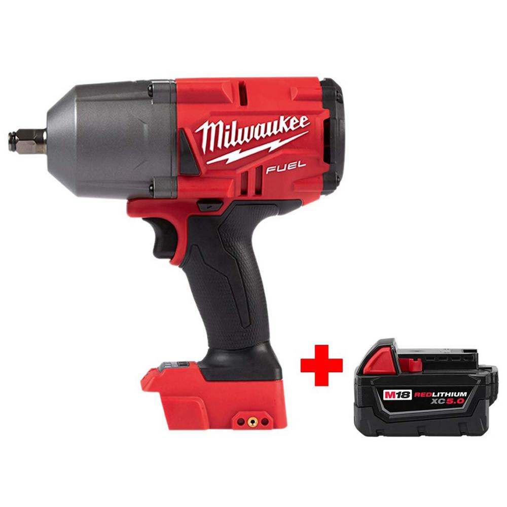 Milwaukee M18 FUEL 18-Volt Lithium-Ion Brushless Cordless 1/2 in  Impact  Wrench with Friction Ring with Free M18 5 0Ah Battery