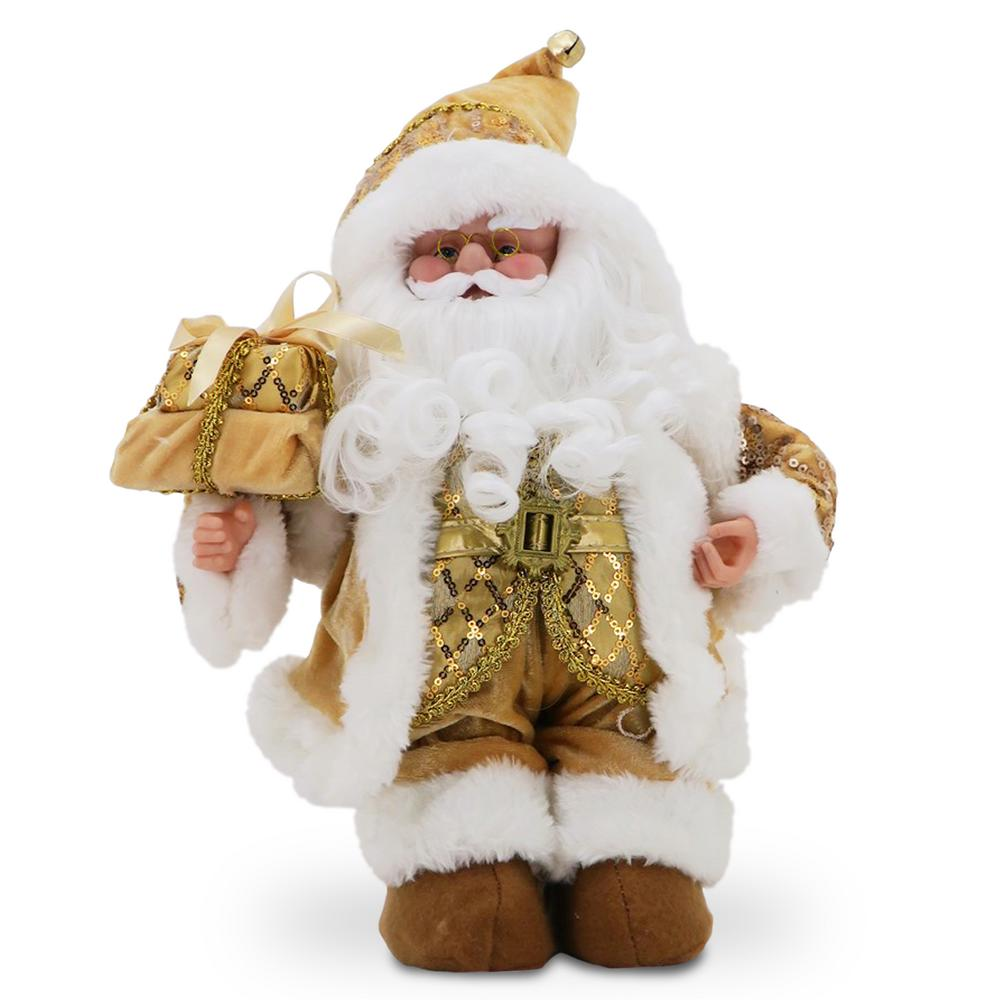 National Tree Company 14 in. Musical Santa in Gold Jacket Santa is dressed in non-traditional gold attire with embellishments that sparkle and shine. His bright white beard compliments the snow-white trim of his boots, cap and coat. On his arm are gold accented gifts, a jingle bell tops the tip of his cap. Turn the winding key to have Santa play a holiday melody.