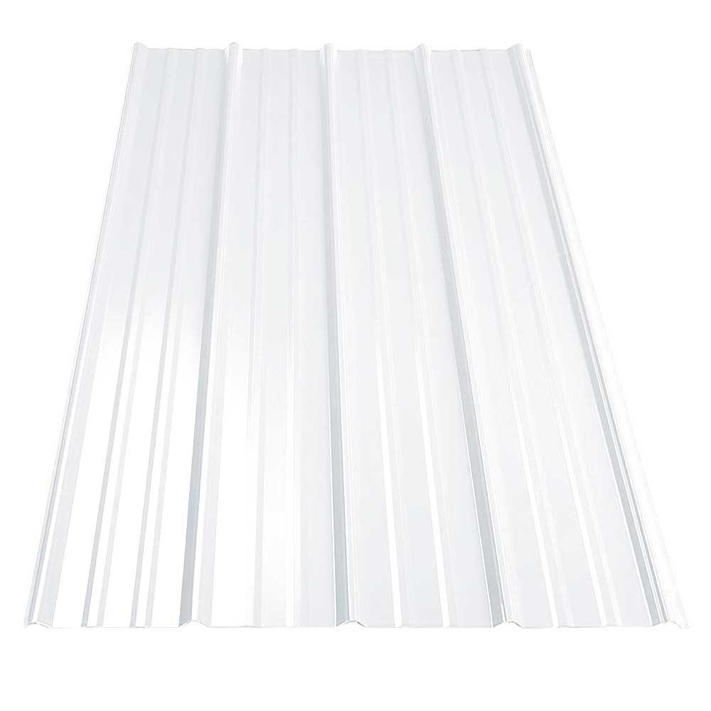 12 ft. SM-Rib Galvanized Steel 29-Gauge Roof Panel in Cotton White