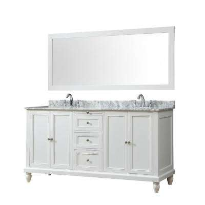 Classic 70 in. Bath Vanity in White with Carrara Marble Vanity Top with White Basins and 1 Large Mirror