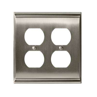 Candler 2-Duplex Outlet Wall Plate, Satin Nickel