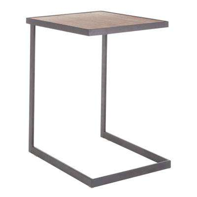 Industrial Zenn Black Metal End Table with Walnut Wood Top