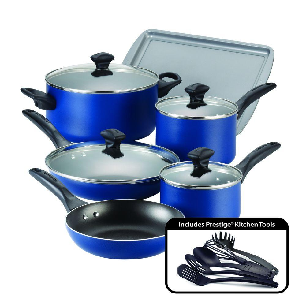 15-Piece Blue Cookware Set with Lids