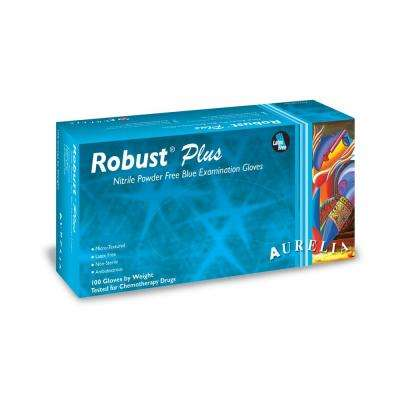 Robust Plus 12 in. L Large 4.5 mil Blue Fully Textured Nitrile Powder-Free Exam Gloves (100-Count, Case of 10)