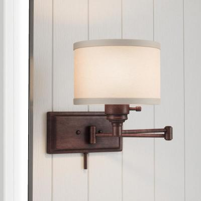 Brookhaven 1-Light Bronze Swing Arm Sconce with Fabric Shade and 6 ft. Cord