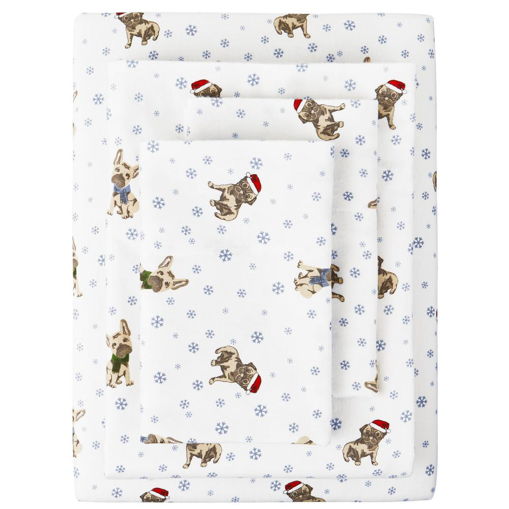 Cotton Flannel 4-Piece Queen Sheet Set in Dog White