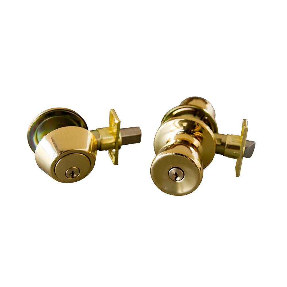 Terrace Satin Polished Brass Combo Pack Entry Knob and Single Cylinder
