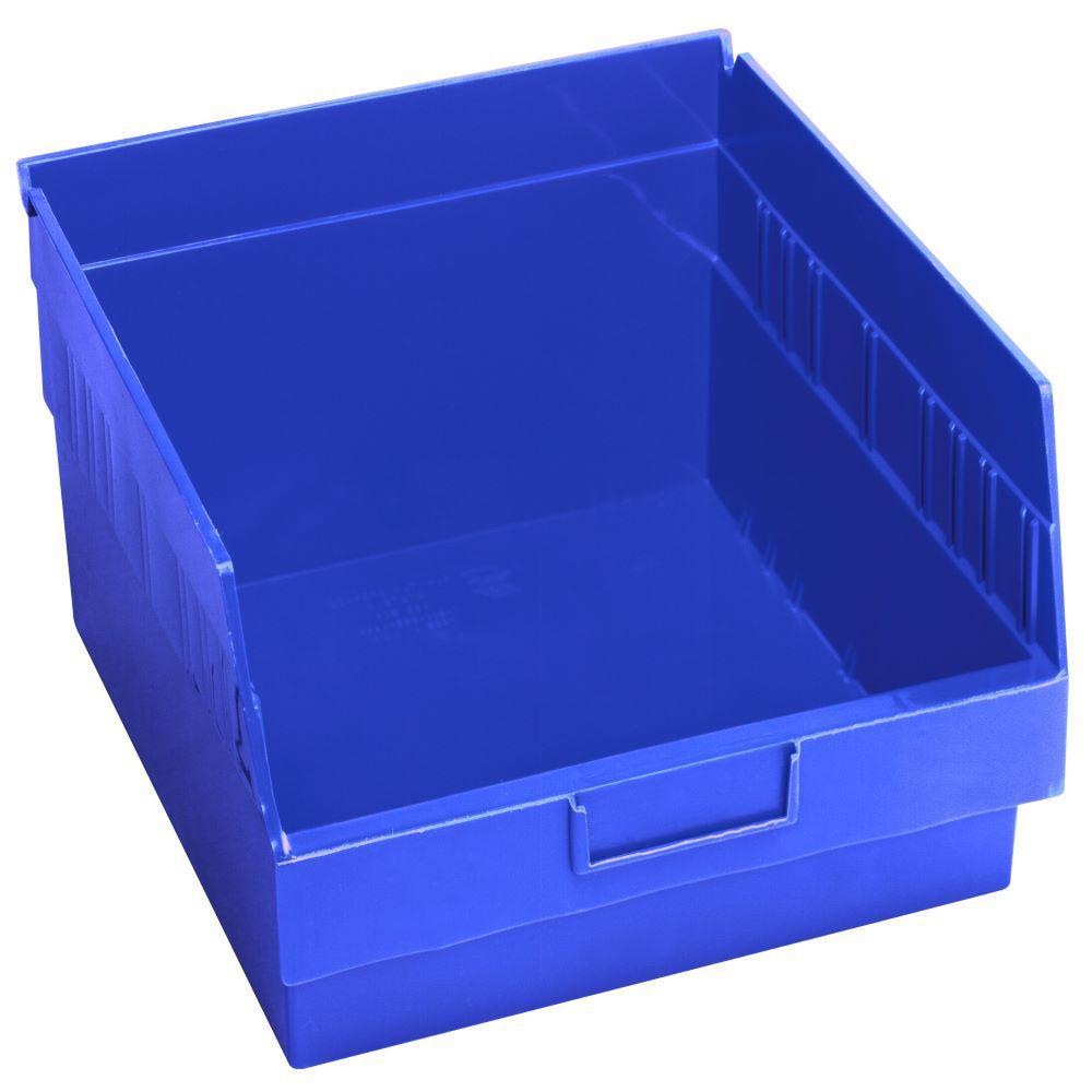 Store-More 6 in. Shelf 13 Qt. Storage Tote in Blue (8-Pack)