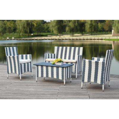 Figueroa 4-Piece Patio Seating Set with Off-White Cushions