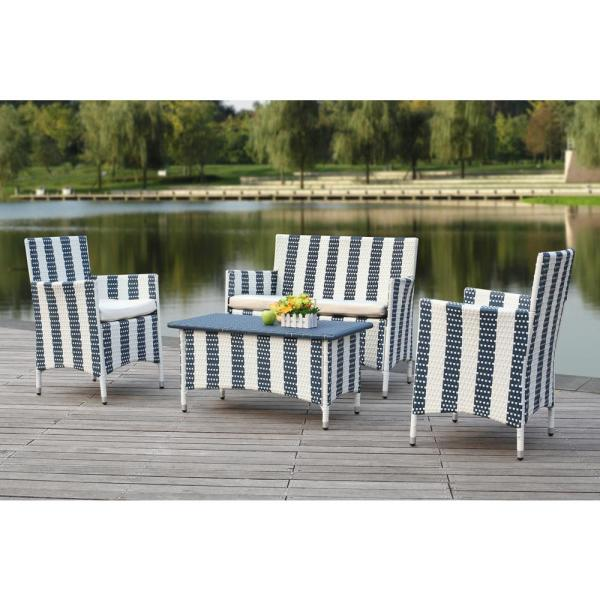 Figueroa Navy/White 4-Piece Wicker Patio Conversation Set with Off-White Cushions