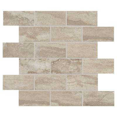 Vettuno Bisque 12 in. x 12 in. x 9.5 mm Porcelain Brick-Joint Mosaic Tile