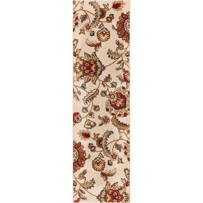Barclay Ashley Oriental Ivory 2 ft. x 7 ft. Country and Floral Runner Rug
