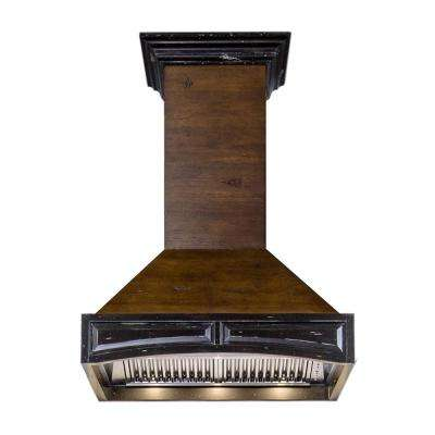 42 in. Wooden Wall Mount Range Hood in Antigua and Walnut - Includes 1200 CFM Motor