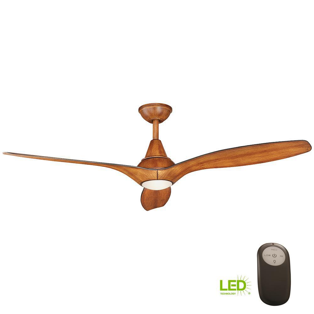Tidal Breeze 56 in. LED Indoor Distressed Koa Ceiling Fan with
