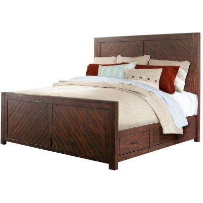 Montana Storage 5-Piece Smoky Walnut Bedroom Suite: King-Size Bed, Dresser, Mirror, Chest and Nightstand