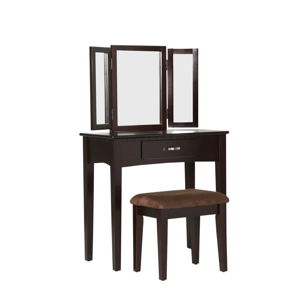 Furniture of America Dalorry 2-Piece Espresso Vanity Set IDF-DK6490EXP