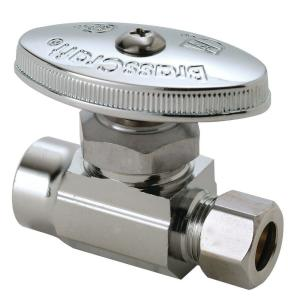 Brasscraft 1/2 inch Nominal Sweat Inlet x 3/8 inch O.D. Compression Outlet Multi-Turn Straight Valve by BrassCraft