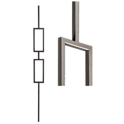 Aalto Modern 44 in. x 0.5 in. Ash Grey Double Rectangle Hollow Wrought Iron Baluster