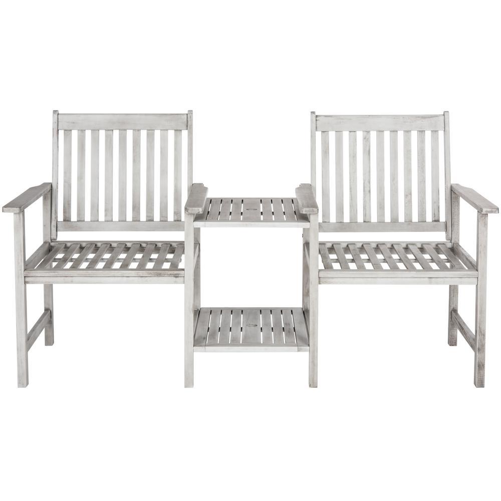 Brea 2-Person Grey Wood Outdoor Bench
