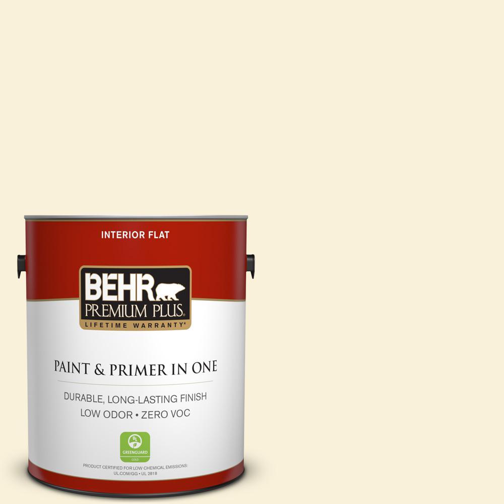 BEHR Premium Plus 1-gal. #W-D-220 Vanilla Custard Zero VOC Flat Interior Paint