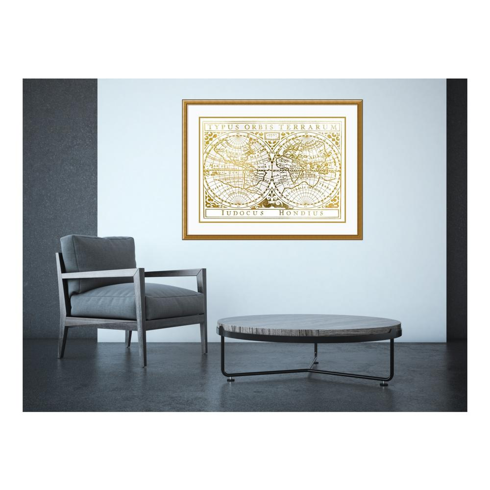 Gold Foil World Map Framed.Amanti Art 31 In H X 41 In W Gold Foil Vintage Map By Vision