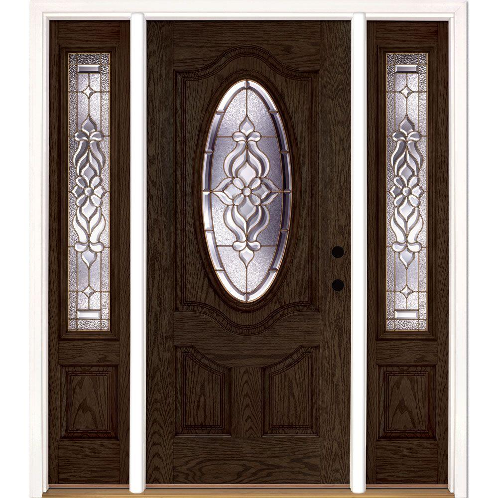 Feather River Doors 63.5 in.x81.625 in. Lakewood Brass 3/4 Oval Lite Stained Walnut Oak Left-Hand Fiberglass Prehung Front Door w/ Sidelites