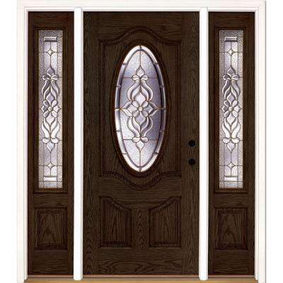 63.5 in.x81.625 in. Lakewood Brass 3/4 Oval Lite Stained Walnut Oak Left-Hand Fiberglass Prehung Front Door w/ Sidelites