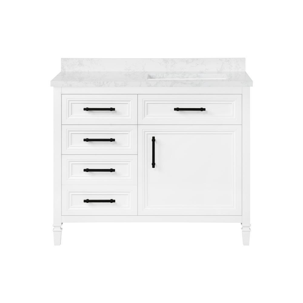 Aiken 42 in. W x 22 in. D Bath Vanity in White with Cultured Marble Vanity Top in White with white Basin