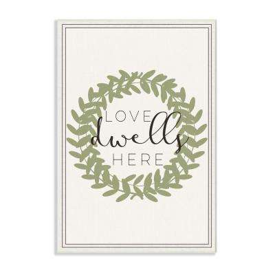 "10 in. x 15 in. ""Love Dwells Here Boxwood Wreath"" by Daphne Polselli Printed Wood Wall Art"