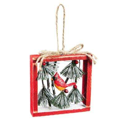 5 in. Hand-Painted Wood Frame Christmas Ornament with Cardinal and Pine Needle