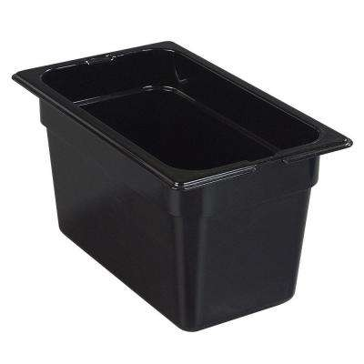 1/4 Size, 4 qt., 6 in. D High Heat plastic High Heat Food Pan, Lid not Included in Black (Case of 6)