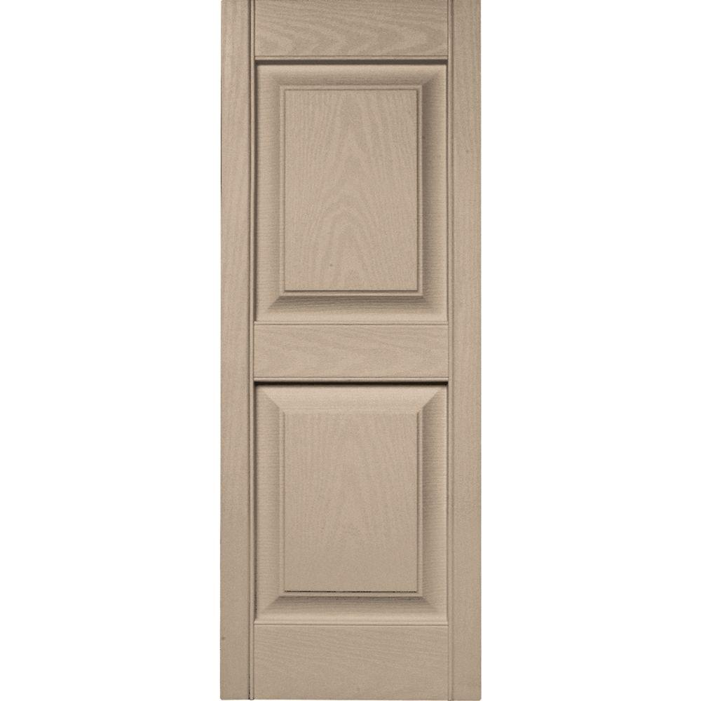 Builders Edge 15 in. x 39 in. Raised Panel Vinyl Exterior Shutters Pair in #023 Wicker