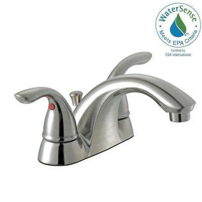 Builders 4 in. Centerset 2-Handle Low- Arc Bathroom Faucet in Brushed Nickel