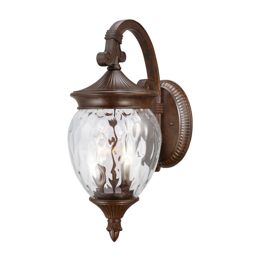Hampton Bay Large 1-Light Prairie Bronze Outdoor Wall Mount Lantern