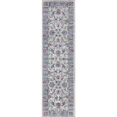 Modern Persian Vintage Light Grey/Light Pink 2 ft. x 8 ft. Runner Rug