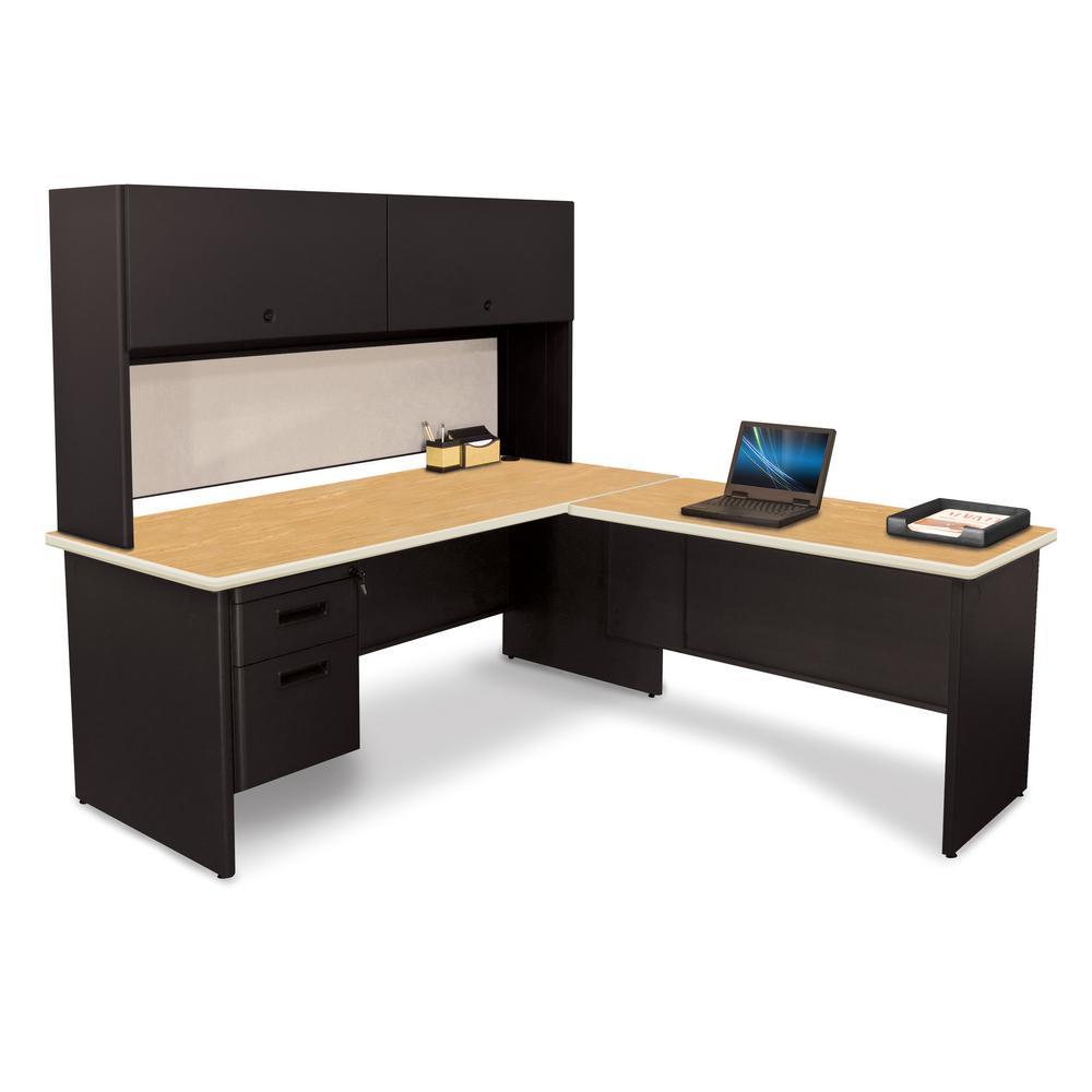 72 in. W x 78 in. D Black. Oak and Chalk Desk with Return