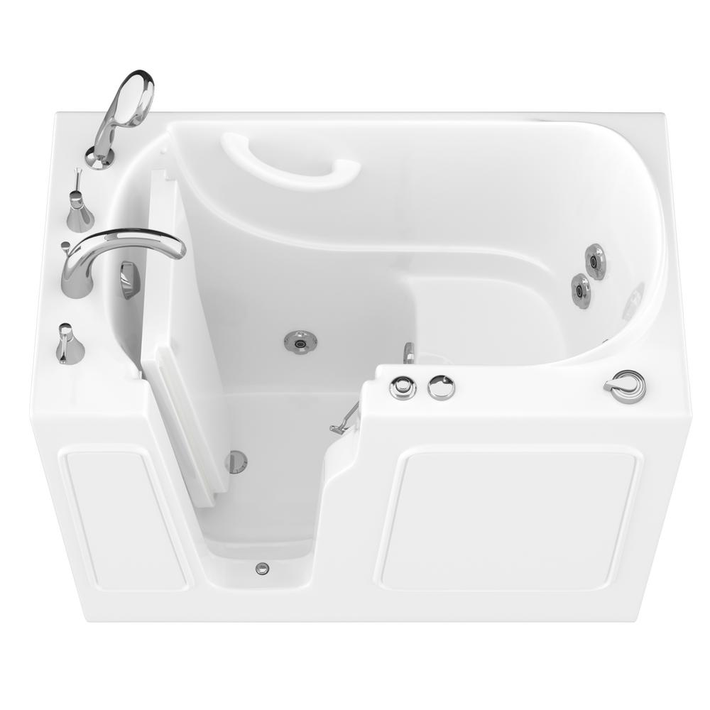 Universal Tubs HD Series 46 in. Left Drain Quick Fill Walk-In Whirlpool Bath Tub with Powered Fast Drain in White