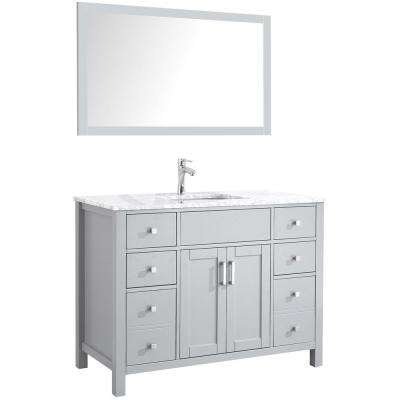 Amaya 48 in. Bathroom Vanity in Grey with Marble Vanity Top in Cararra White with White Ceramic Basin and Mirror