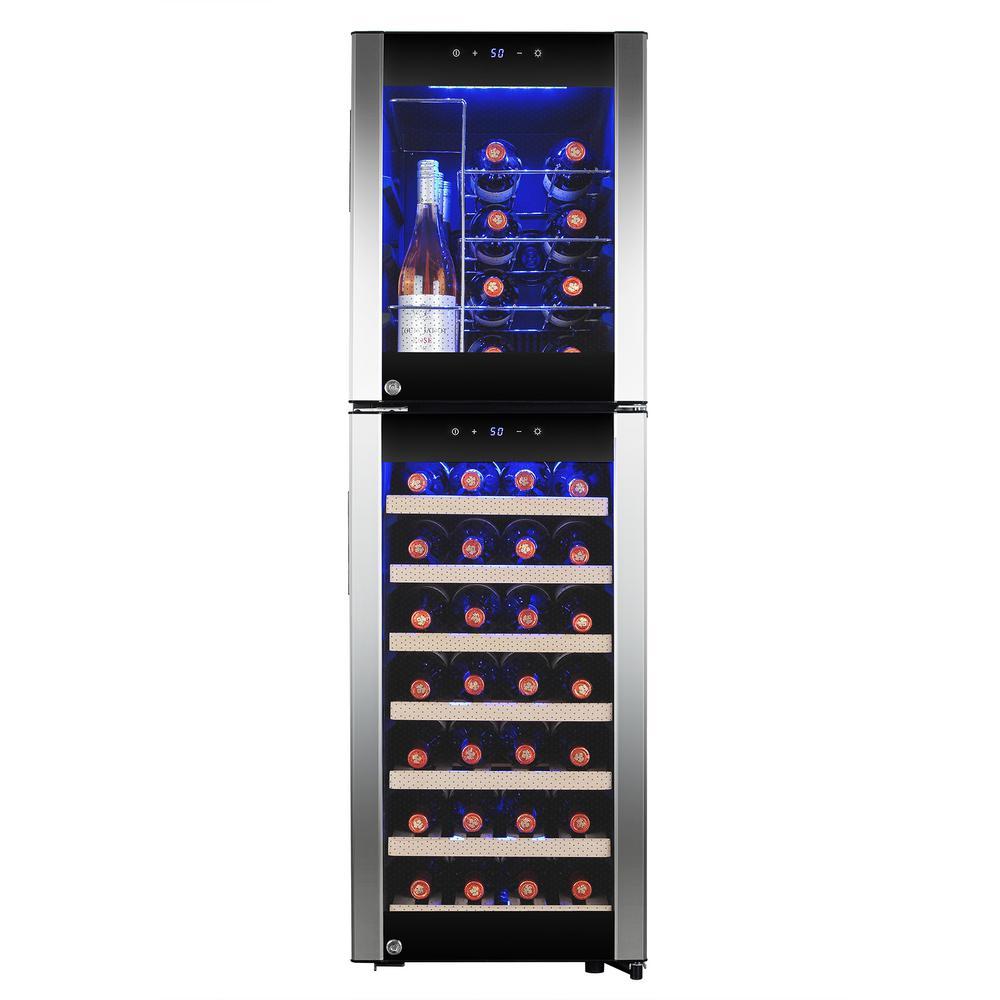 50.25 in. 44-Bottle Freestanding Dual Zone Compressor Freestanding Wine Cooler