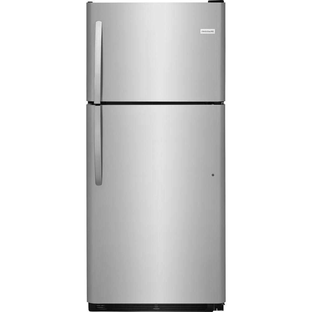 frigidaire 20 4 cu ft top freezer refrigerator in stainless steel fftr2021ts the home depot. Black Bedroom Furniture Sets. Home Design Ideas