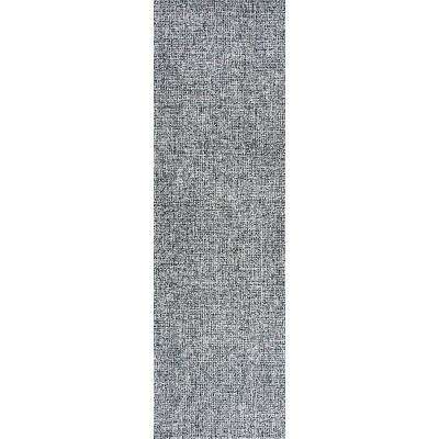 """London Collection Black/White 100% Wool 2'6"""" x 8' Hand-Tufted Tweed Area Rug"""