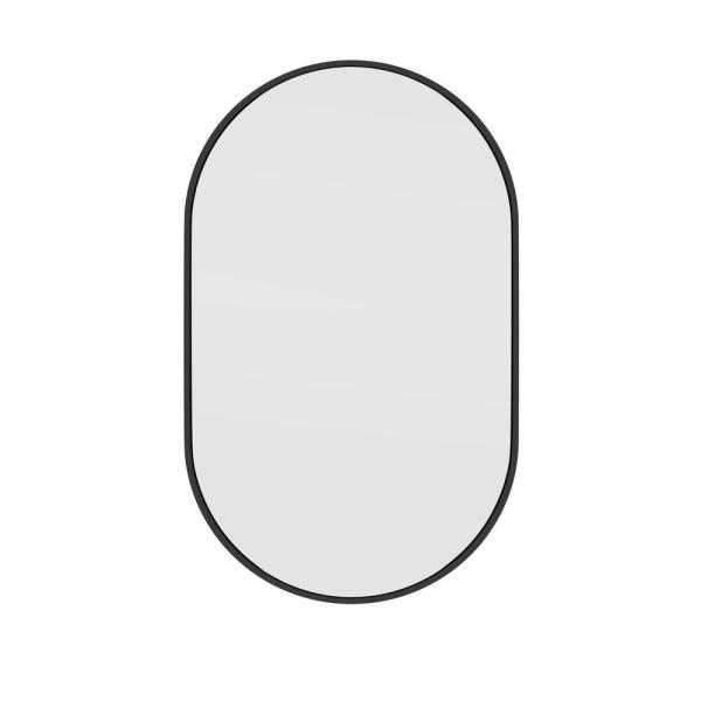 22 in. W x 36 in. H Stainless Steel Framed Pill Shape Bathroom Vanity Mirror in Black