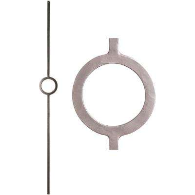 Aalto Modern 44 in. x 0.5 in. Ash Grey Single Ring Hollow Wrought Iron Baluster