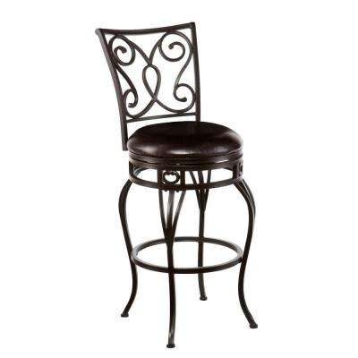 Gabriel 29.75 in. Hammered Bronze Swivel Cushioned Bar Stool