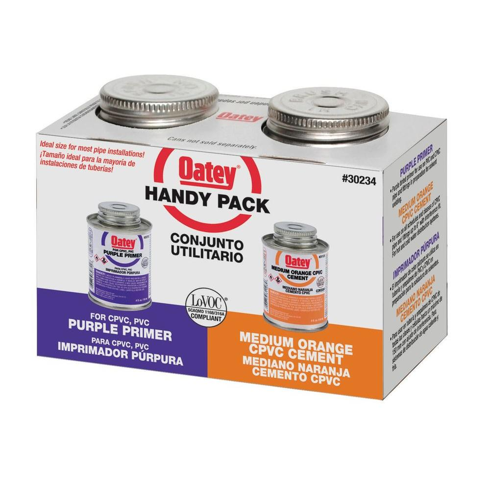 Purple Primer and CPVC Cement - Handy Pack  sc 1 st  The Home Depot & Oatey 4 oz. Purple Primer and CPVC Cement - Handy Pack-30234 - The ...