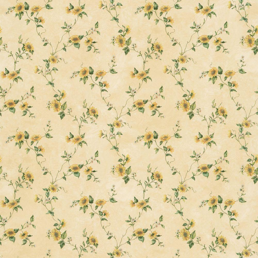 The Wallpaper Company 8 in. x 10 in. Yellow Floral Trail Wallpaper Sample-DISCONTINUED