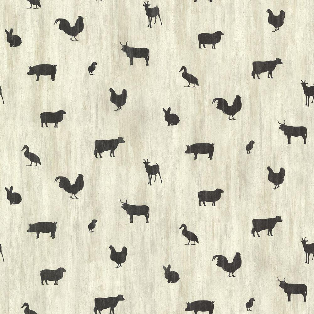 Farnhan Black Animal Toss Wallpaper